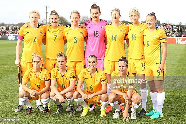 The Australian Matildas pose for a team photo befored the women's international friendly match between the Australian Matildas and the New Zealand...