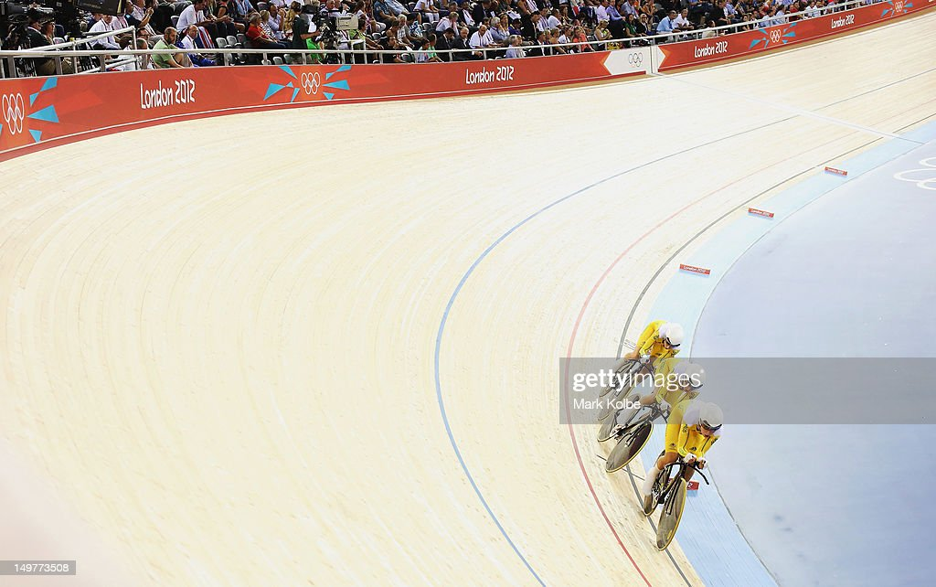 The Australian mens team ride in the 4000m Team Pursuit event at the Velodrome on August 3, 2012 in London, England.