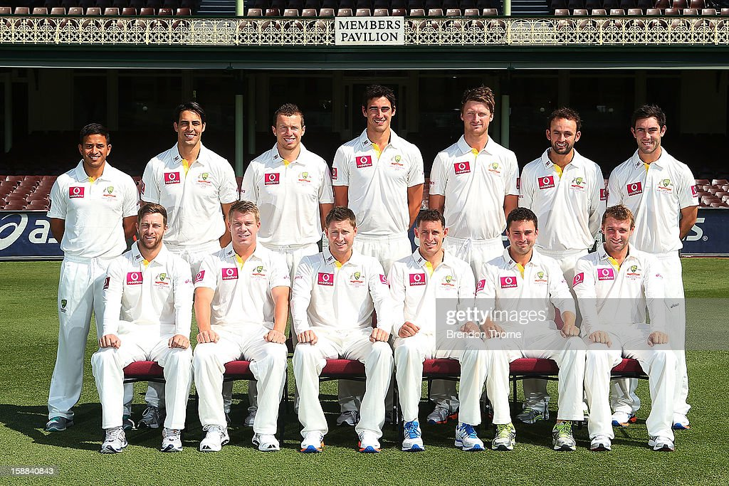 The Australian Mens Test team pose for a photograph prior to an Australian nets session at Sydney Cricket Ground on January 1, 2013 in Sydney, Australia.