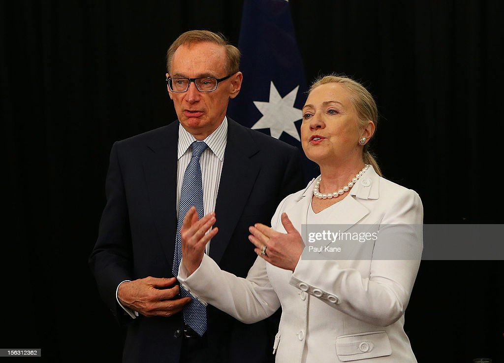 The Australian Minister for Foreign Affairs <a gi-track='captionPersonalityLinkClicked' href=/galleries/search?phrase=Bob+Carr&family=editorial&specificpeople=209391 ng-click='$event.stopPropagation()'>Bob Carr</a> and US Secretary of State <a gi-track='captionPersonalityLinkClicked' href=/galleries/search?phrase=Hillary+Clinton&family=editorial&specificpeople=76480 ng-click='$event.stopPropagation()'>Hillary Clinton</a> talk during the annual Australia-United States Ministerial Consultations at the Hyatt Hotel on November 13, 2012 in Perth, Australia. The bilateral AUSMIN forum will focus on foreign, defence and strategic policy and will be held in Perth tomorrow.