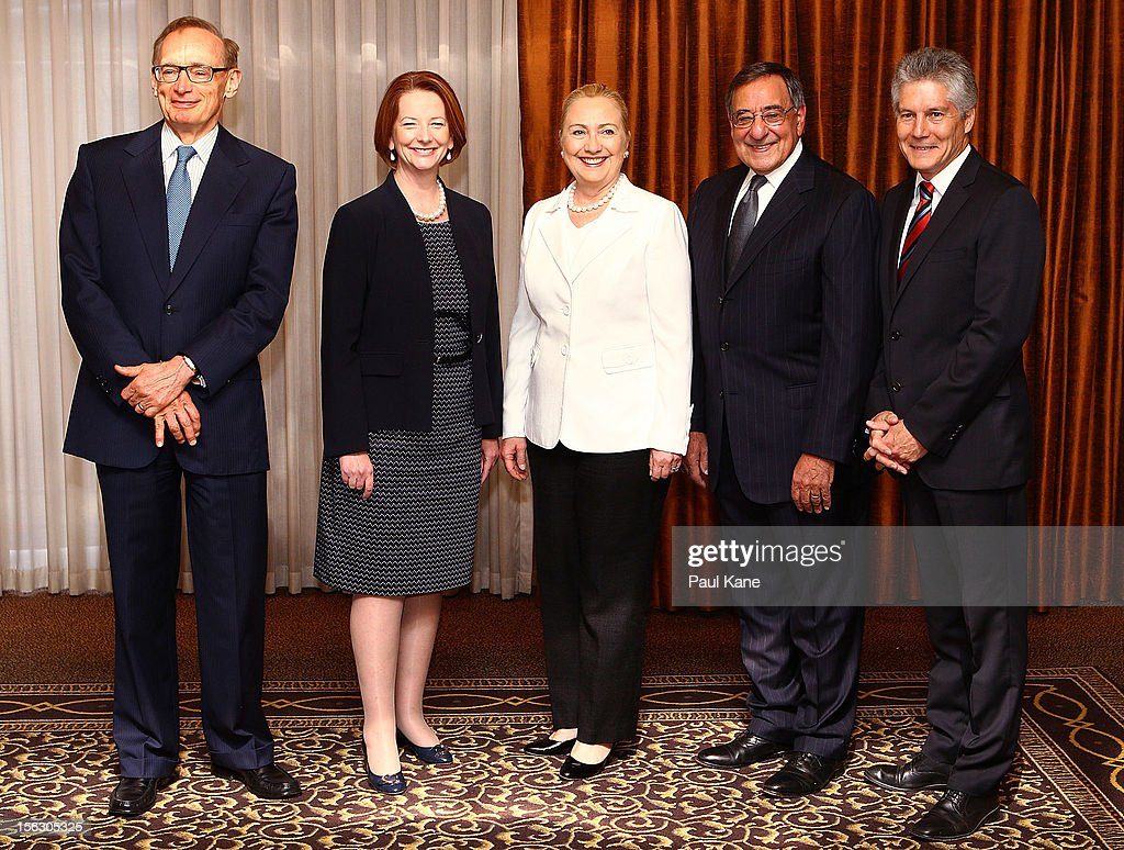 The Australian Minister for Foreign Affairs <a gi-track='captionPersonalityLinkClicked' href=/galleries/search?phrase=Bob+Carr&family=editorial&specificpeople=209391 ng-click='$event.stopPropagation()'>Bob Carr</a>, Australian Prime Minister <a gi-track='captionPersonalityLinkClicked' href=/galleries/search?phrase=Julia+Gillard&family=editorial&specificpeople=787281 ng-click='$event.stopPropagation()'>Julia Gillard</a>, US Secretary of State <a gi-track='captionPersonalityLinkClicked' href=/galleries/search?phrase=Hillary+Clinton&family=editorial&specificpeople=76480 ng-click='$event.stopPropagation()'>Hillary Clinton</a>, US Secretary of Defense Leon Panetta and Australian Minister for Defense Stephen Smith pose for a photo during the annual Australia-United States Ministerial Consultations at the Hyatt Hotel on November 13, 2012 in Perth, Australia. The bilateral AUSMIN forum will focus on foreign, defence and strategic policy and will be held in Perth tomorrow.