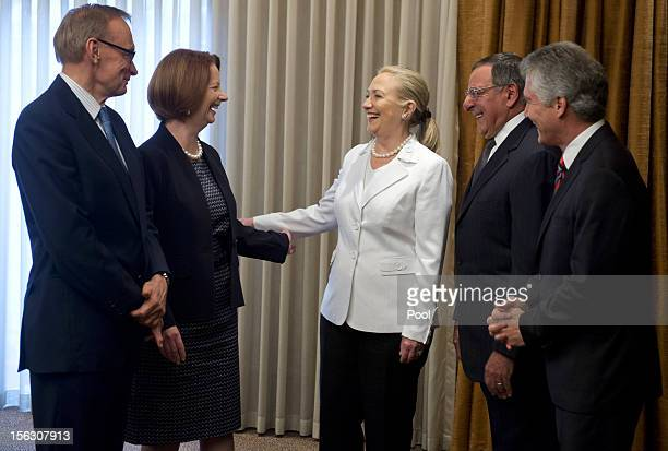 The Australian Minister for Foreign Affairs Bob Carr Australian Prime Minister Julia Gillard US Secretary of State Hillary Clinton US Secretary of...