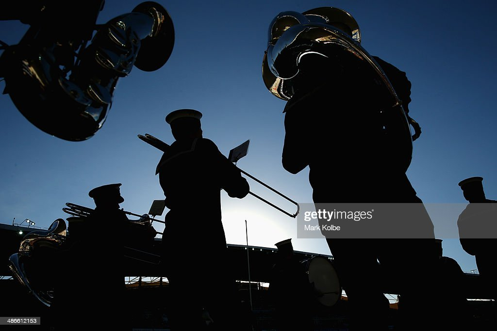 The Australian Navy Band perform during the pre-match ceremony ahead of the ANZAC Cup round 8 NRL match between the St George Illawarra Dragons and the Sydney Roosters at Allianz Stadium on April 25, 2014 in Sydney, Australia.