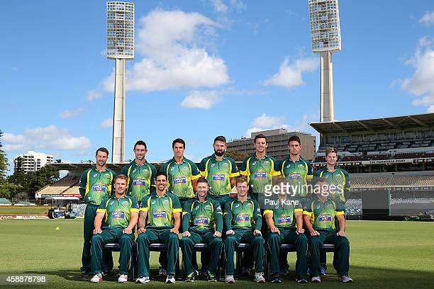 The Australian one day international cricket team pose for an official team photo prior to an Australian training session at the WACA on November 13...