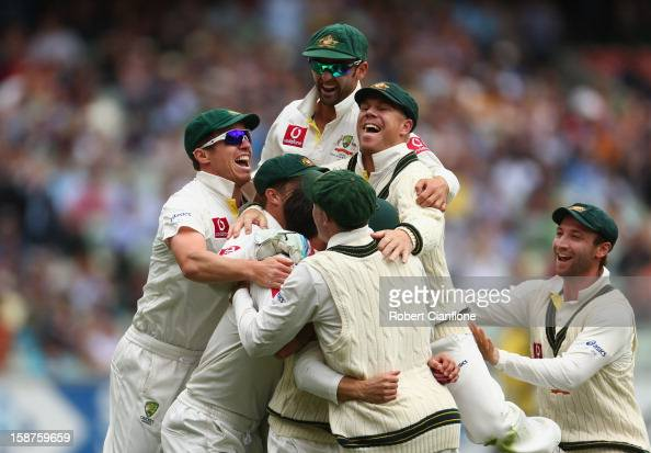 The Australian players celebrate the wicket of Tillakaratne Dilshan of Sri Lanka after he was caught by Ed Cowan off the bowling of Mitchell Johnson...