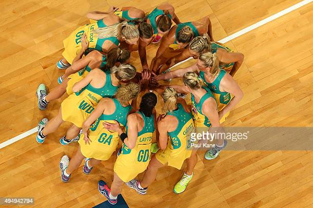 The Australian players huddle during the International Test Match between the Australian Diamonds and the New Zealand Silver Ferns at Perth Arena on...