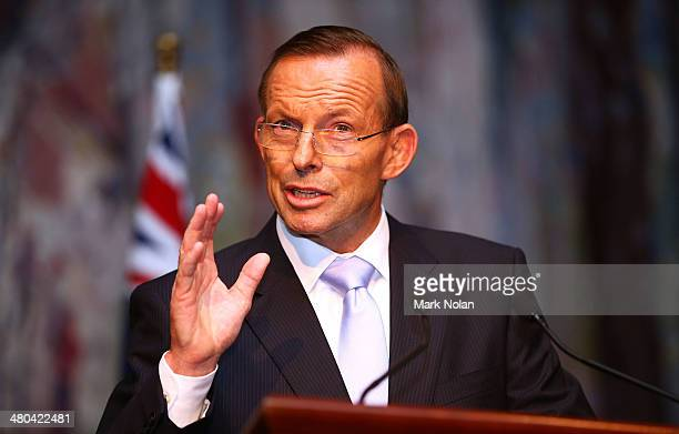 The Australian Prime Minister Tony Abbott makes a speech during the Governor Generals farewell reception at Parliament House on March 25 2014 in...