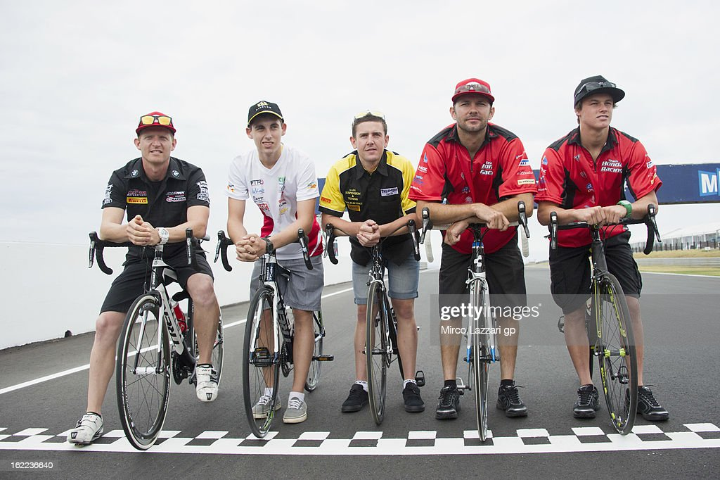 The Australian riders pose during the event 'Track lap on bicycles' during the round first of 2013 Superbike FIM World Championship at Phillip Island Grand Prix Circuit on February 21, 2013 in Phillip Island, Australia.