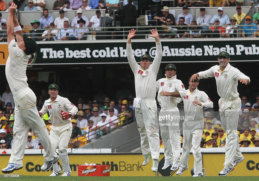 The Australian slip cordon react as <a gi-track='captionPersonalityLinkClicked' href=/galleries/search?phrase=Xavier+Doherty&family=editorial&specificpeople=2098624 ng-click='$event.stopPropagation()'>Xavier Doherty</a> (L) of Australia drops a catch from Alastair Cook of England during day one of the First Ashes Test match between Australia and England at The Gabba on November 25, 2010 in Brisbane, Australia.