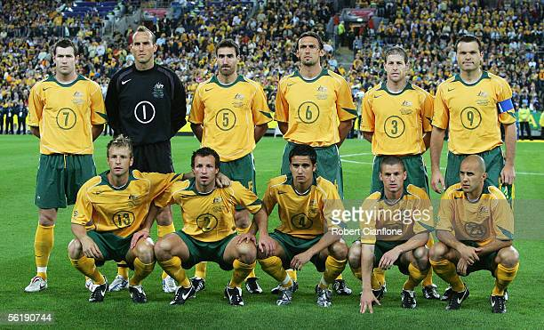 The Australian Socceroos line up for a team photo prior to the national anthem prior to the second leg of the 2006 FIFA World Cup qualifying match...