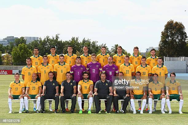 The Australian Socceroos team pose during a team photo session at Lakeside Stadium on January 5 2015 in Melbourne Australia