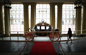 The Australian State Coach is displayed at the Grand Entrance at The Royal Welcome exhibition Summer opening at Buckingham Palace on July 23 2015 in...
