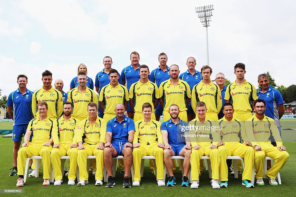 The Australian team and management pose for a team photo ahead of the 3rd One Day International cricket match between the New Zealand Black Caps and Australia at Seddon Park on February 8, 2016 in Hamilton, New Zealand.