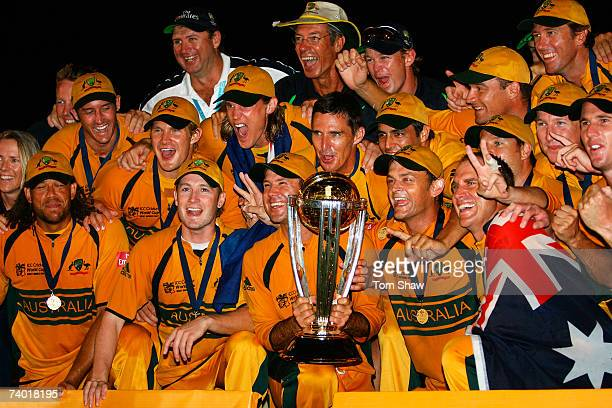 The Australian team celebrate victory after the ICC Cricket World Cup Final between Australia and Sri Lanka at the Kensington Oval on April 28 2007...