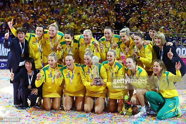 The Australian team celebrate with the Netball World Cup trophy after victory in the 2015 Netball World Cup Gold Medal match between Australia and...