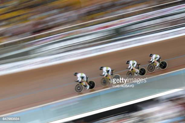 TOPSHOT The Australian team competes in the UCI Cycling World Cup Women's Team Pursuit final at Alcides Nieto Patino velodrome on February 19 in Cali...