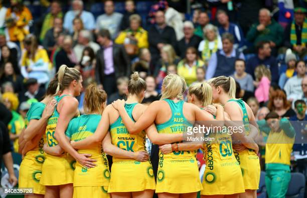 The Australian team form a hudle after the 2017 Netball Quad Series between the Australia Diamonds and the South Africa Proteas at AIS on August 30...