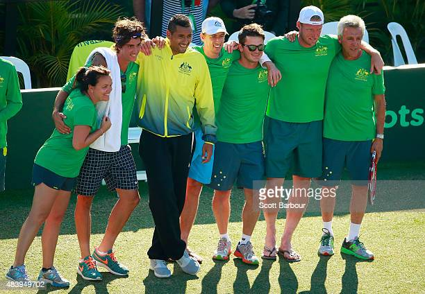 The Australian team including captain Wally Masur John Millman Sam Groth Thanasi Kokkinakis and Nick Kyrgios look on as teammate Lleyton Hewitt of...