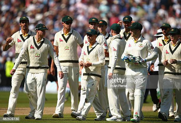 The Australian team leave the field during day three of the 3rd Investec Ashes Test match between England and Australia at Edgbaston on July 31 2015...