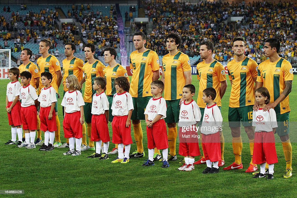 The Australian team line up before the FIFA 2014 World Cup Qualifier match between the Australian Socceroos and Oman at ANZ Stadium on March 26, 2013 in Sydney, Australia.