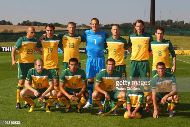 The Australian team line up prior to the International Friendly between the Australian Socceroos and Denmark at Ruimsig Stadium on June 1 2010 in...