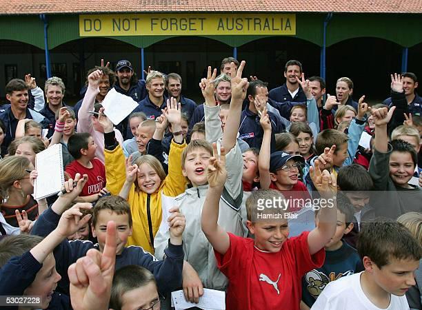 The Australian Team meet local school children during the Australian Cricket Team's visit to Victoria School where the Australian World War I...