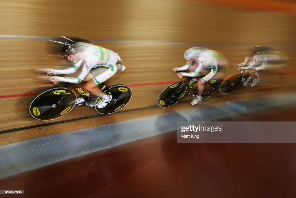 The Australian Team of Alex Manly, Macey Stewart and Elissa Wundersitz compete in the Women's U19 3000m Team Pursuit Qualifications during day two of the 2013 Australian Youth Olympic Festival at Dunc Gray Velodrome on January 17, 2013 in Sydney, Australia.