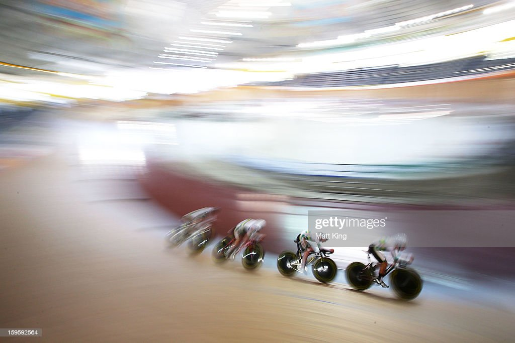 The Australian Team of Daniel Fitter, Bradley Heffernan, Michael Rice and Theodore Yates compete in the Men's U19 Team Pursuit Qualifications during day two of the 2013 Australian Youth Olympic Festival at Dunc Gray Velodrome on January 17, 2013 in Sydney, Australia.