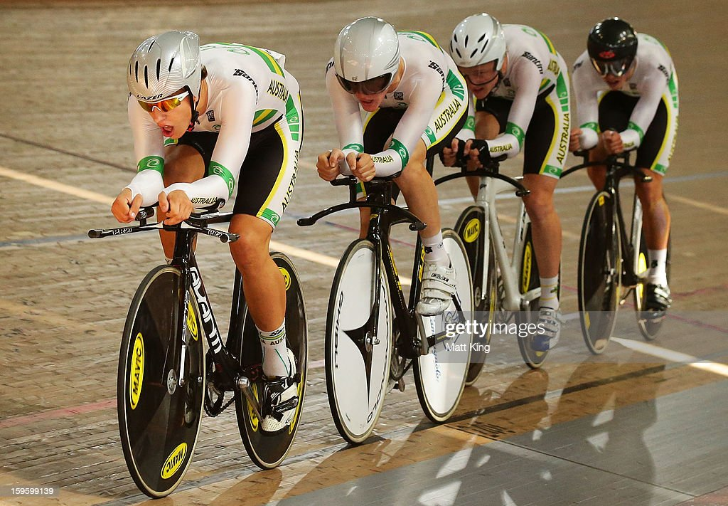 The Australian Team of Joshua Harrison, Matthew Ross, Callum Scotson and Sam Welsford compete in the Men's U19 4000m Team Pursuit Final during day two of the 2013 Australian Youth Olympic Festival at Dunc Gray Velodrome on January 17, 2013 in Sydney, Australia.