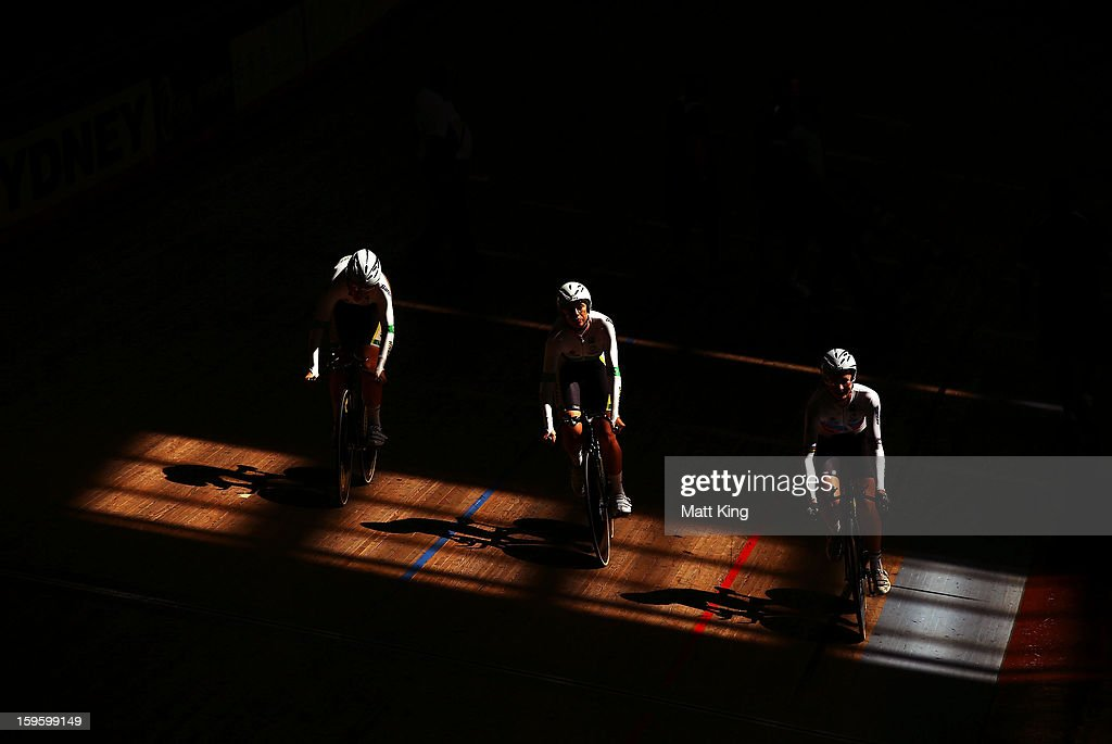 The Australian team of Lauren Perry, Kelsey Robson and Josie Talbot compete in the Women's U19 3000m Team Pursuit Final during day two of the 2013 Australian Youth Olympic Festival at Dunc Gray Velodrome on January 17, 2013 in Sydney, Australia.
