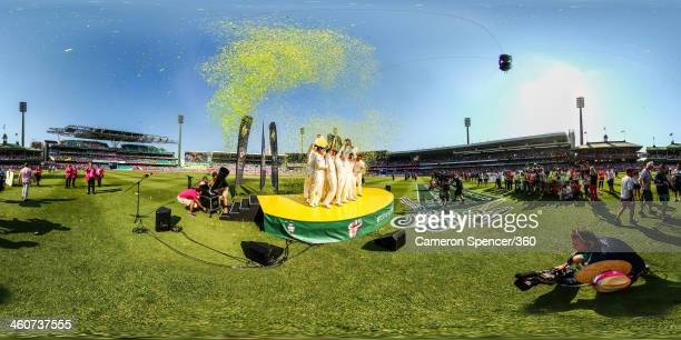 The Australian team pose after winning the Ashes series 50 during day three of the Fifth Ashes Test match between Australia and England at Sydney...