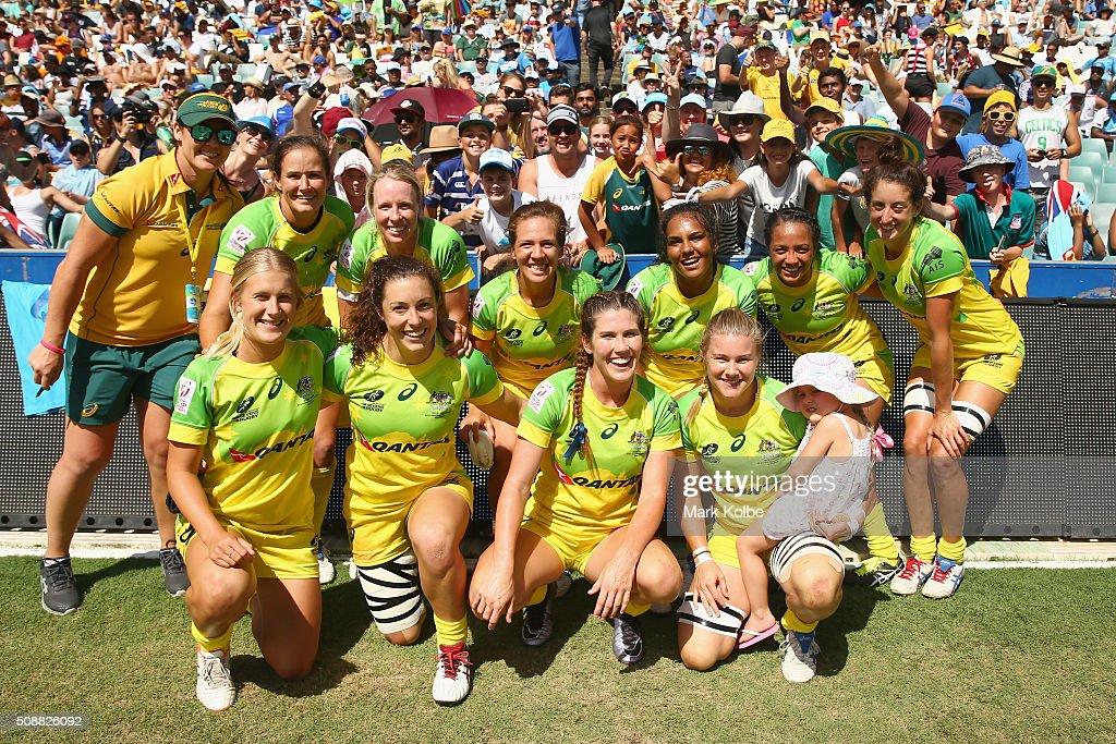 The Australian team pose for a team photo after the 2016 Sydney Sevens international friendly womens match three between Australia and Ireland at Allianz Stadium on February 7, 2016 in Sydney, Australia.