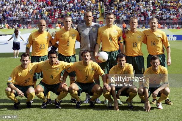 The Australian team pose for the cameras prior to kickoff during the FIFA World Cup Germany 2006 Round of 16 match between Italy and Australia at the...