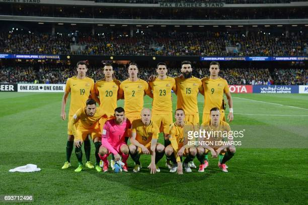 The Australian team poses for photos before the World Cup football Asian qualifying match between Australia and Saudi Arabia at the Adelaide Oval in...