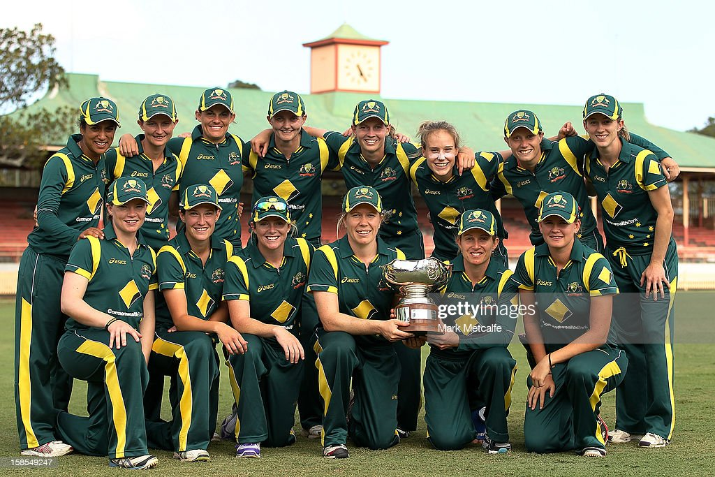 The Australian team poses with the Rose Bowl after winning game four of the Women's One-day International series between the Australian Southern Stars and New Zealand at North Sydney Oval on December 19, 2012 in Sydney, Australia.