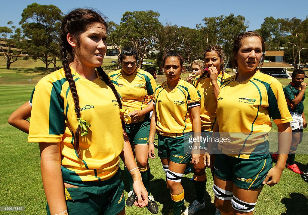 The Australian team prepares for a game in the Women's Rugby Sevens during day three of the Australian Youth Olympic Festival at St Ignatius College on January 18, 2013 in Sydney, Australia.