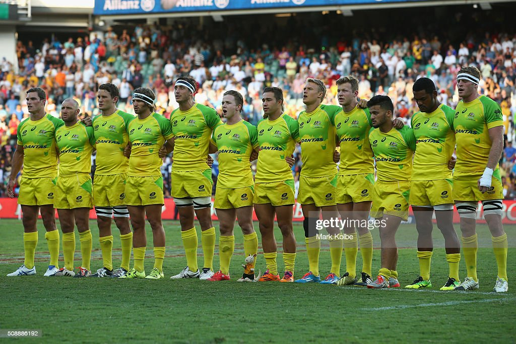 The Australian team sing thre national anthem before the 2016 Sydney Sevens cup final match between Australia and New Zealand at Allianz Stadium on February 7, 2016 in Sydney, Australia.