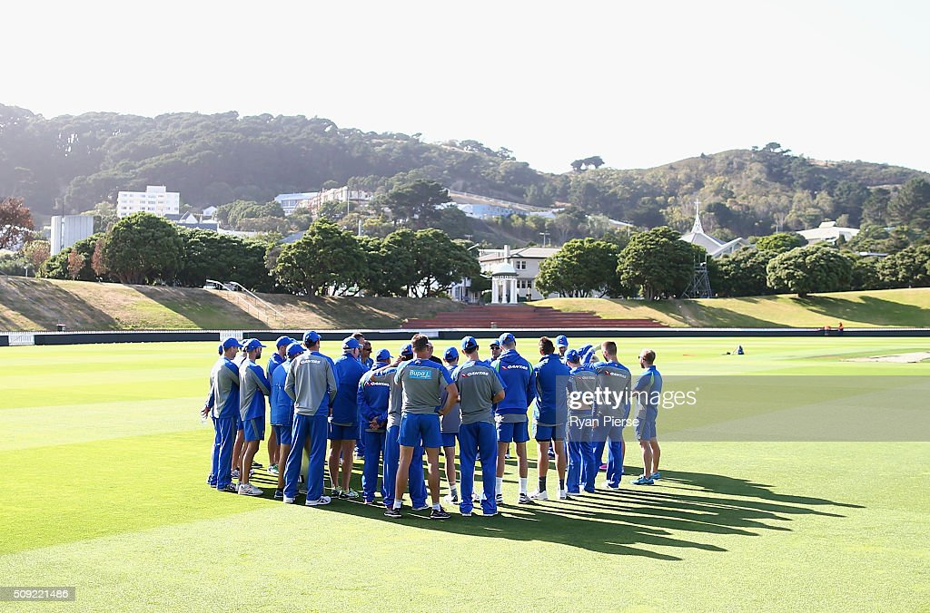 The Australian team talk during an Australian nets session at Basin Reserve on February 11, 2016 in Wellington, New Zealand.