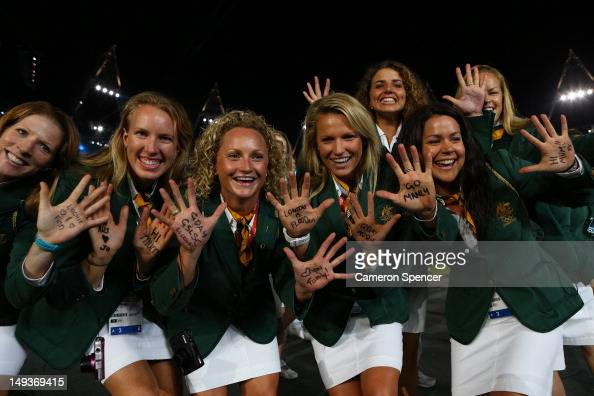 The Australian team walk the stadium during the Opening Ceremony of the London 2012 Olympic Games at the Olympic Stadium on July 27 2012 in London...