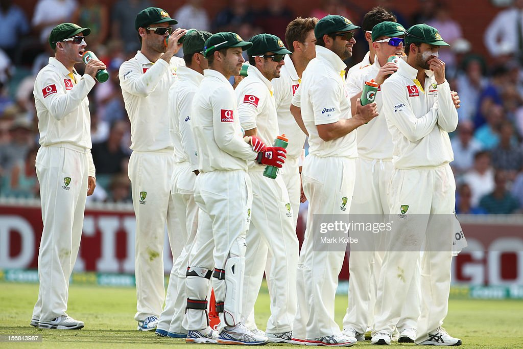 The Australian team watch the big screen after taking the wicket of Graeme Smith of South Africa only to have the decision over-turned after it was referred to the third umpire during day two of the Second Test match between Australia and South Africa at Adelaide Oval on November 23, 2012 in Adelaide, Australia.