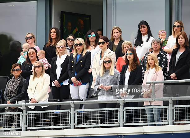 The Australian teams wives and partners look on during day one of the 1st Investec Ashes Test match between England and Australia at SWALEC Stadium...
