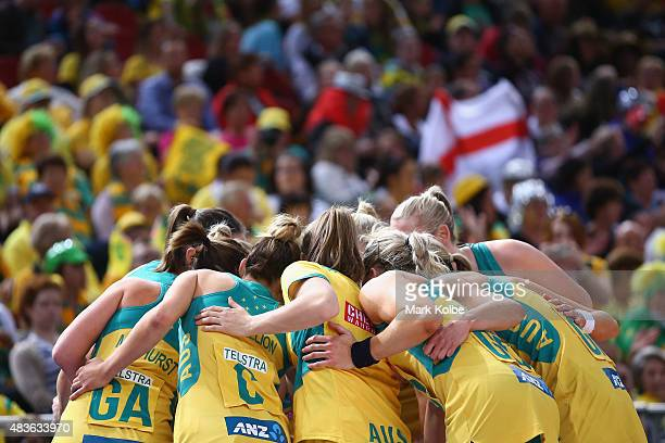 The Australian tesam form a huddle before taking the court during the 2015 Netball World Cup Qualification round match between Australia and England...