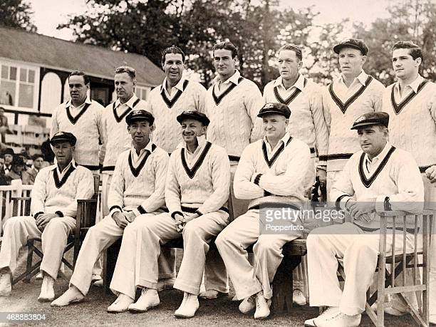 The Australian touring cricket team prior to the opening match of their tour against Worcestershire at New Road in Worcester on 28th April 1948 Back...