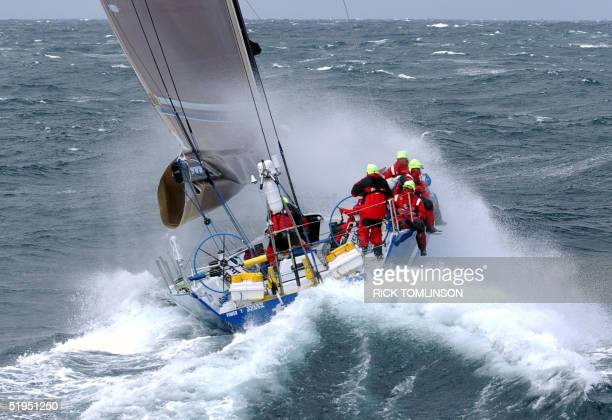 The Australian VO 60 yacht 'Team News Corp' ploughs through the rough conditions in the Brass Strait 27 December 2001 during the third leg of the...