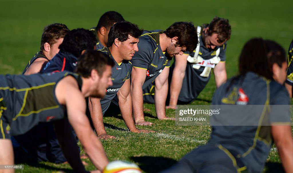 The Australian Wallabies rugby team attends a training session in Sydney on July 2, 2013. The Australian Wallabies will face the British and Irish Lions in the third and deciding test on July 6 in Sydney. IMAGE STRICTLY RESTRICTED TO EDITORIAL USE - STRICTLY NO COMMERCIAL USE AFP PHOTO / Saeed Khan
