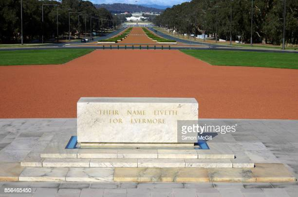 The Australian War Memorial's forecourt and Stone of Remembrance, with ANZAC Parade in the distance, in Canberra, Australian Capital Territory, Australia
