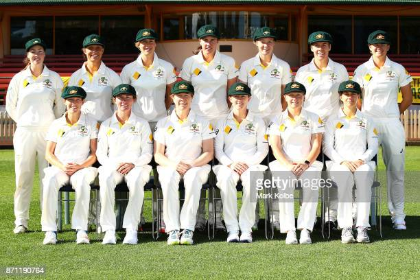 The Australian women's test cricket team pose for a team photograph during an Australian women's Ashes series training session at North Sydney Oval...