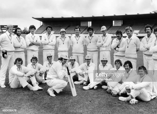 The Australian World Series Cricket Team is photographed at St Kilda Football Ground in Melbourne 1977 From left are Kerry O'Keeffe Ray Bright Wayne...