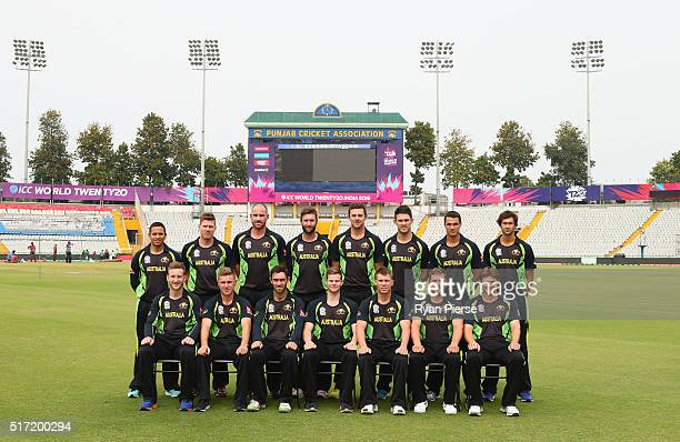 The Australian WT20 squad pose for a team photo during an Australian Nets Session ahead of the ICC WT20 match between Australia and Pakistan at IS...