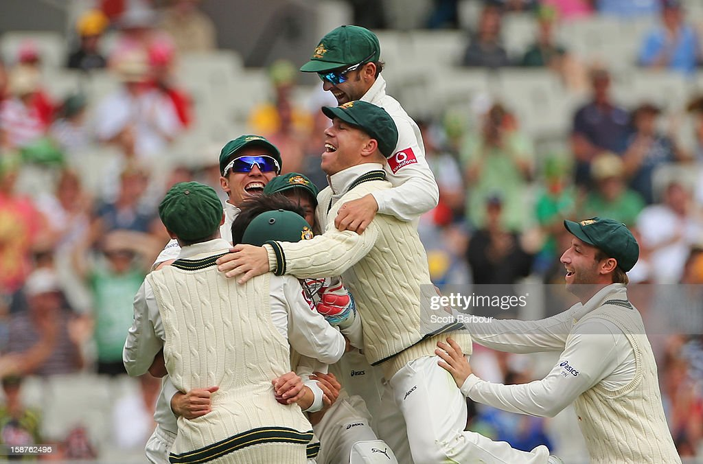 The Australians celebrate after Mitchell Johnson of Australia dismissed Tillakaratne Dilshan of Sri Lanka during day three of the Second Test match between Australia and Sri Lanka at Melbourne Cricket Ground on December 28, 2012 in Melbourne, Australia.